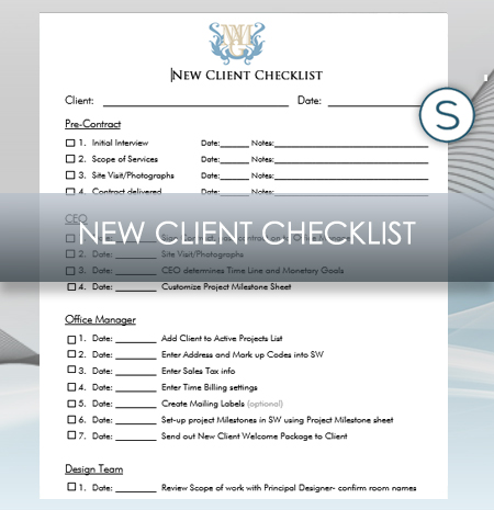 Interior Design Business New Client Checklist For Studio