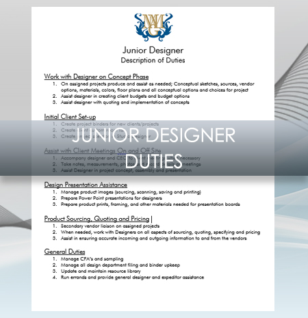 Interior Design Business  Junior Designer Job Description
