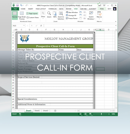 Interior Design Business Prospective Client Call In Form