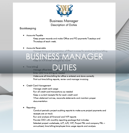 Interior Design Business  OfficeBusiness Manager Job Description