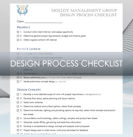 Interior design business design process checklist for Interior design planning checklist