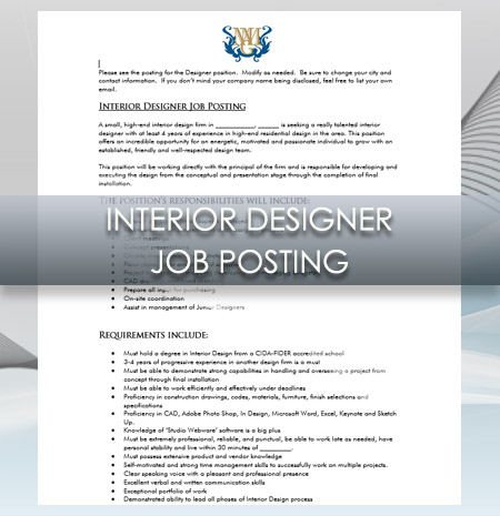 Interior Design Business Interior Designer Job Posting
