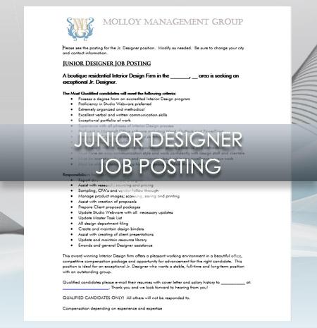Interior Design Business Junior Designer Job Posting