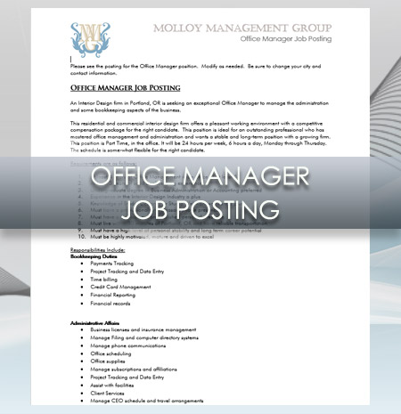 Interior Design Business Office Manager Job Posting